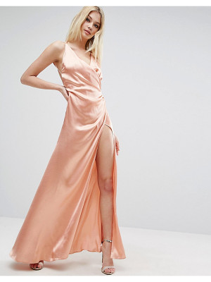 ASOS Strap Drape Front Thigh Split Maxi Dress