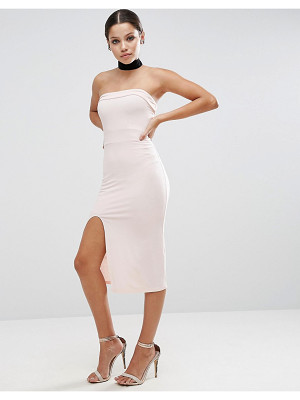 ASOS Strapless Midi Bodycon Dress With Curved Splits
