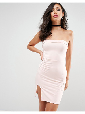 ASOS DESIGN asos strapless mini bodycon dress with curved splits