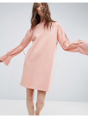 ASOS Sweat Dress With Tie Sleeve