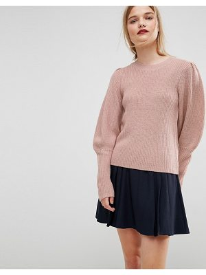 ASOS Sweater In Rib With Puff Shoulder