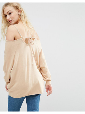 ASOS Sweater With Cold Shoulder And Tie Back