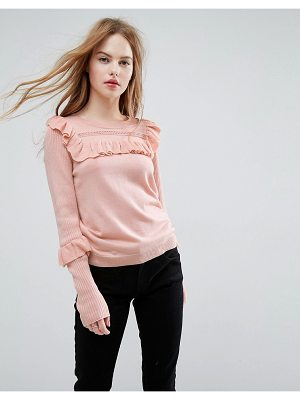 Asos ASOS Sweater with Frill and Pointelle Detail