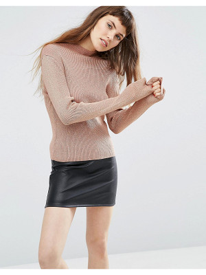 Asos Sweater with High Neck in Metallic