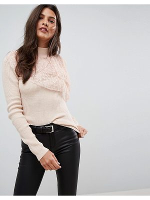 ASOS DESIGN asos sweater with pleated lace ruffle
