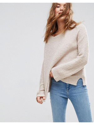 Asos Sweater With Slash Neck In Boucle Yarn
