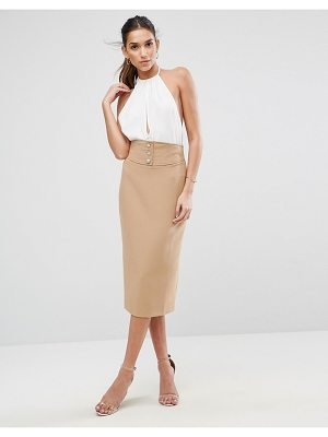 ASOS Tailored Pencil Skirt With Corset And Button Detail
