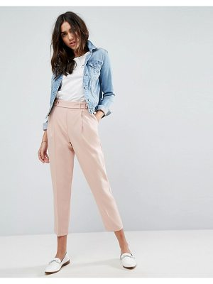 Asos Tailored Pleat Front High Waist Tapered PANTS with Button & Tab Detail