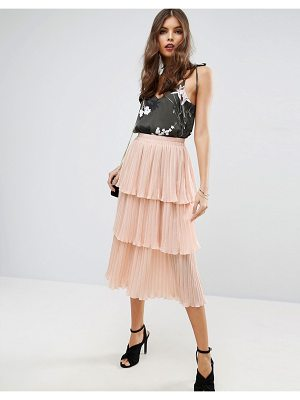 ASOS Tiered Pleated Midi Skirt