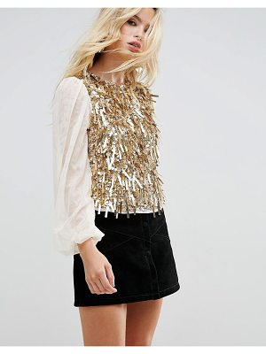 ASOS Top With Pretty Embellishment & Balloon Sleeve