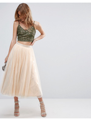 Asos Tulle Midi Skirt with Metallic Underlayer
