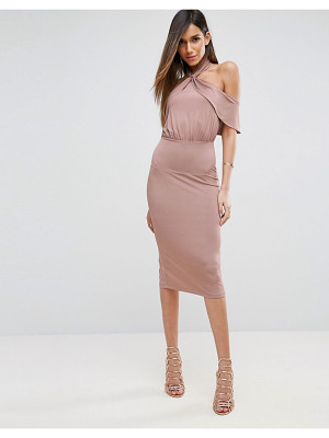 ASOS DESIGN asos twist neck ruffle top soft pencil dress