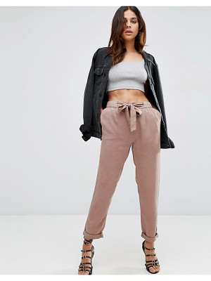 Asos Washed Woven Peg Pants with Tie