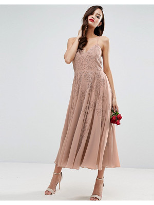 ASOS Wedding Cami Strap Embellished Maxi Dress