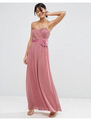 Asos DESIGN Bridesmaid chiffon bandeau maxi dress with detachable corsage