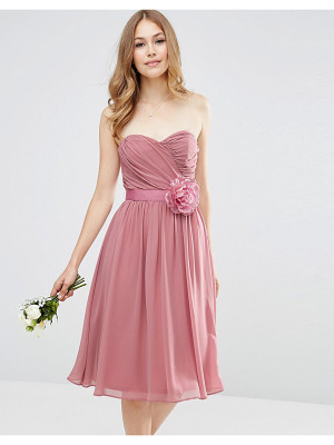 ASOS Wedding Chiffon Bandeau Midi Dress With Detachable Corsage