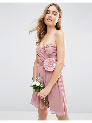 Asos Bridesmaid chiffon bandeau mini dress with detachable corsage