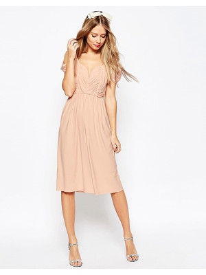 Asos WEDDING Drape Cold Shoulder Midi Dress