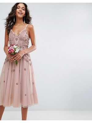 ASOS Wedding Iridescent Delicate Beaded Strappy Midi Dress