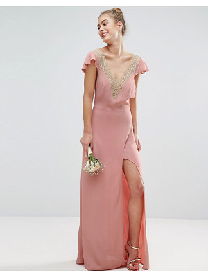 Asos Bridesmaid lace applique delicate strap maxi dress