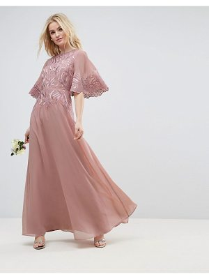 ASOS Wedding Lace Applique Flutter Sleeve Maxi Dress