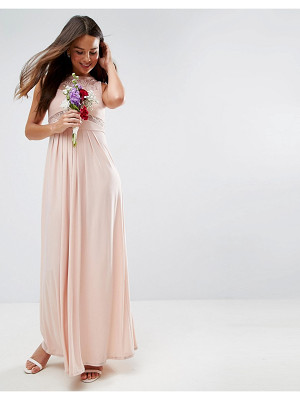 ASOS DESIGN bridesmaid lace top pleated maxi dress