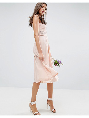 Asos DESIGN Bridesmaid lace top pleated midi dress