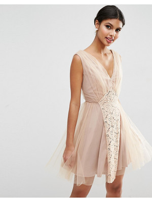 ASOS Wedding Mesh And Lace Insert Mini Prom Dress