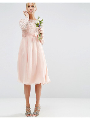 ASOS Wedding Midi Dress With Lace And Bow Detail