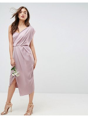 ASOS Design Bridesmaid One Shoulder Soft Midi Pencil Dress