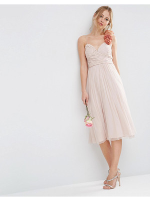ASOS Wedding Ruched Midi Dress With Corsage Strap