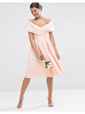 ASOS Wedding Scuba Off The Shoulder Midi Prom Dress
