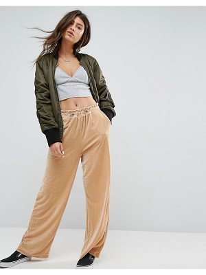 ASOS Wide Leg Velvet Joggers With Elastic Cord