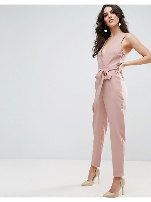 ASOS Wrap Front Jumpsuit With Twist Back And Self Tie