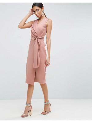ASOS Wrap Front Midi Pencil Dress With Tie Detail