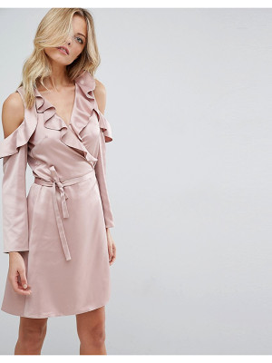 ASOS Wrap Front Tea Dress In Satin