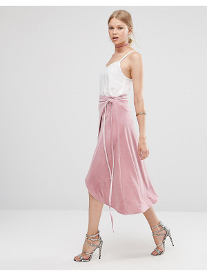 Asos Wrap Midi Skirt in Velvet