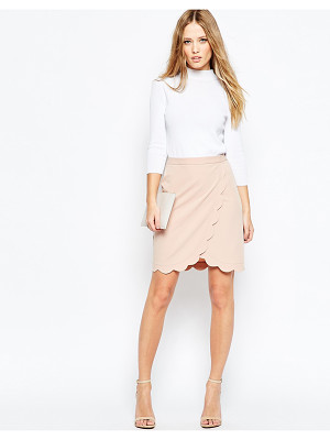 ASOS Wrap Pencil Skirt With Scallop Detail