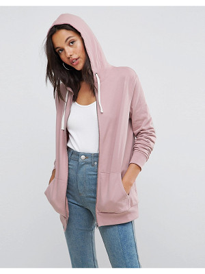 Asos DESIGN zip through hoodie in soft pink
