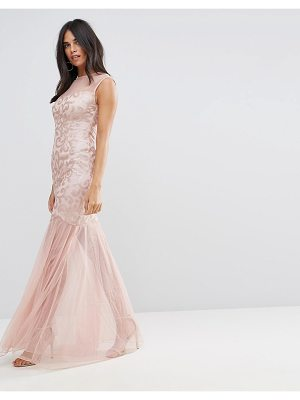 Ax Paris Ax Paris Blush Sequin Bodice Chiffon Maxi Dress