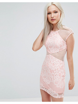 AX PARIS Fishnet Insert Bodycon Dress