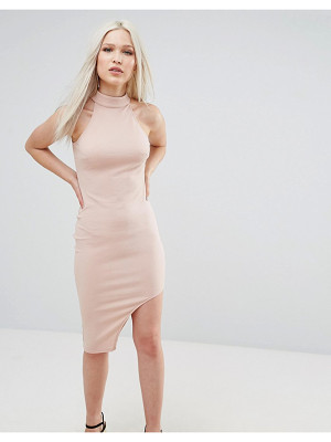 Ax Paris High Neck Asymmetric Bodycon Dress