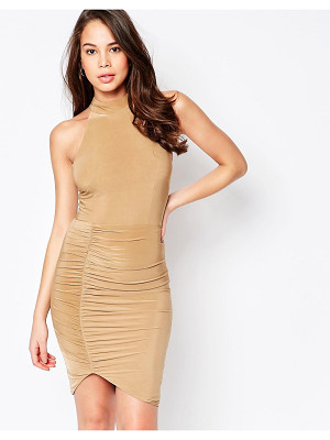 Ax Paris High Neck Midi Dress with Ruching