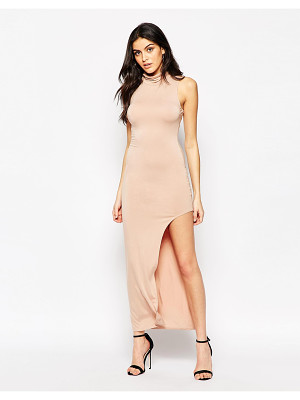 Ax Paris Maxi Dress with High Neck and Side Split
