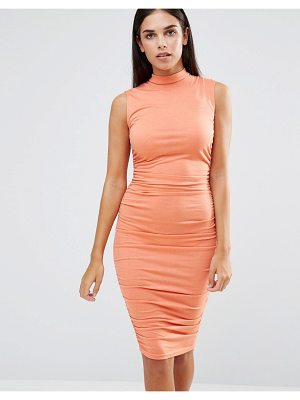 Ax Paris Sleeveless Ruched Midi Dress