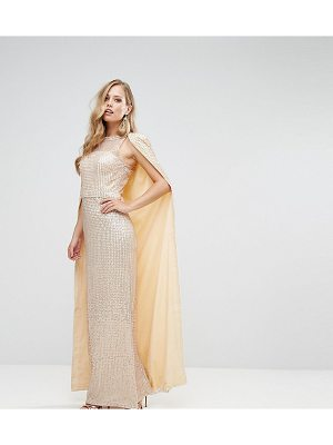 BARIANO Sequin Maxi Dress With Cape