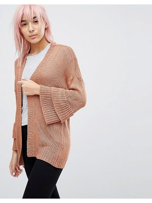 Brave Soul Frill Sleeve Cardigan In Chenille