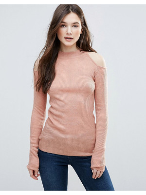 Brave Soul Rib Cold Shoulder Sweater