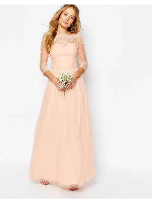 Chi Chi London Bardot Neck Maxi Dress with Premium Lace and Tulle Skirt