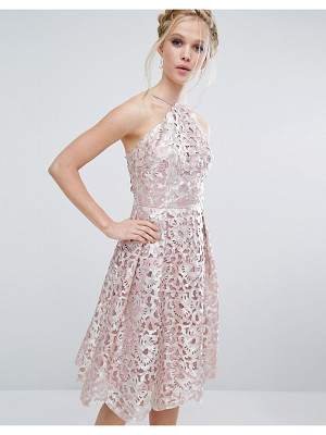 Chi Chi London Cutwork Midi Dress in Metallic